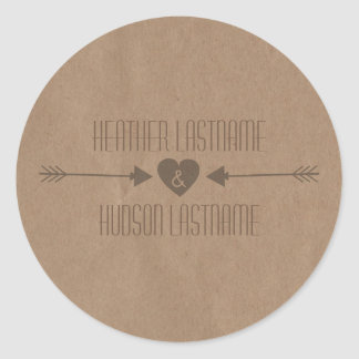 Brown Paper Inspired Brown Arrows Wedding Sticker