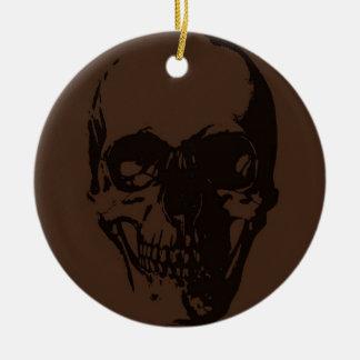 Brown Skull Round Ceramic Decoration