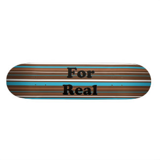 Brown Turquoise and White Stripes 18.1 Cm Old School Skateboard Deck
