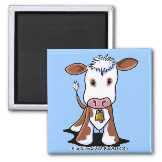 Brown & White Cow Square Magnet