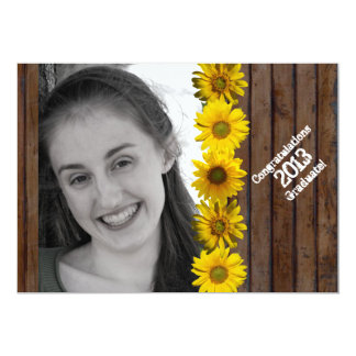 Brown Wood Look Sunflower Photo Graduation 13 Cm X 18 Cm Invitation Card
