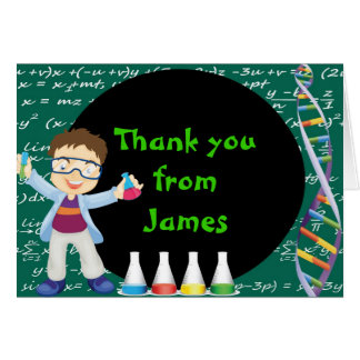 Brunette Boy Mad Scientist Thank You Note Card