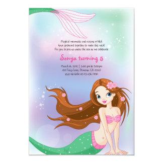 Brunette Mermaid Birthday Invitation Card