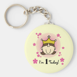Brunette Princess 1st Birthday Tshirts and Gifts Basic Round Button Key Ring