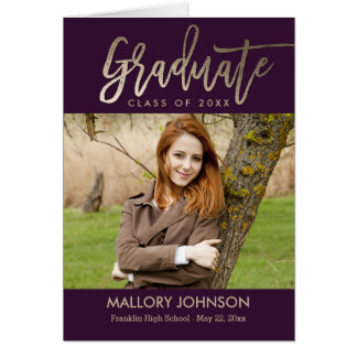 Brushed Glimmer Graduation Thank You Card