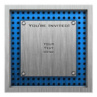 Brushed Metal-look Rollerblading 13 Cm X 13 Cm Square Invitation Card
