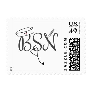 BSN nurse postage stamp with stethoscope