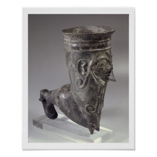Bucchero vessel in the form of a leg with sculpted poster