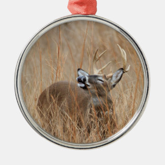 Buck in the Grass Silver-Colored Round Decoration