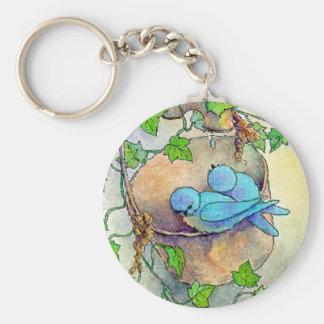 BUCKET BLUEBIRDS by SHARON SHARPE Basic Round Button Key Ring