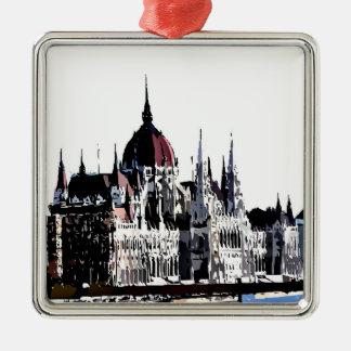 Budapest castle Silver-Colored square decoration