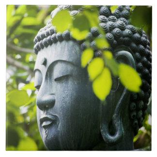 Buddha in Senso-ji Temple Garden Large Square Tile