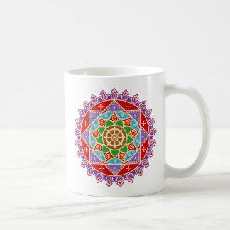 Buddhist Mandala Pattern with Dharma Wheel Basic White Mug