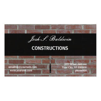 Builder Modern Simple Brick Wall Construction Pack Of Standard Business Cards
