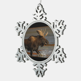 Bull Moose Pewter Snowflake Decoration