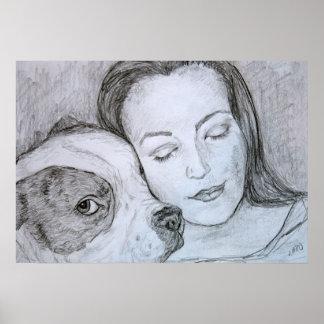 Bulldog Lover Pet Owner Pencil Art Drawing Poster