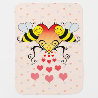 Bumble Bees With Hearts Design Baby Blanket