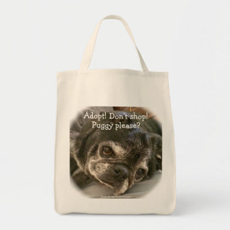 Bumblesnot tote bag: Puggy please? Grocery Tote Bag