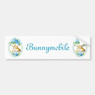 Bunnies In The Blue Flowers Bumper Sticker