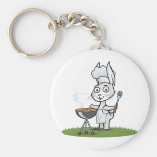 Bunny Barbecue Basic Round Button Key Ring