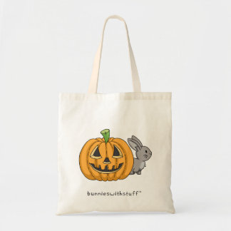 Bunny with Jack O Lantern Budget Tote Bag