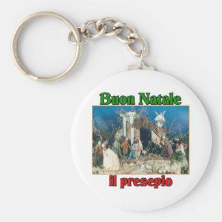 Buon Natale (Merry Christmas) IL Presepio Basic Round Button Key Ring