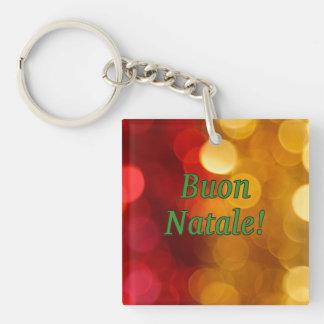 Buon Natale! Merry Christmas in Italian gf Single-Sided Square Acrylic Key Ring