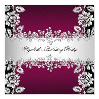 Burgundy Silver Floral Black Birthday Party 13 Cm X 13 Cm Square Invitation Card