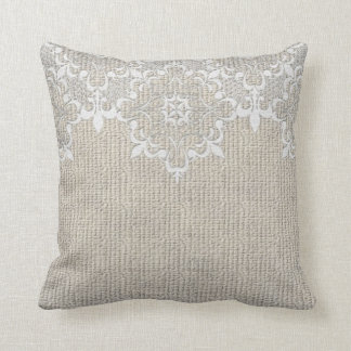 Burlap & Lace Pillow Throw Cushion