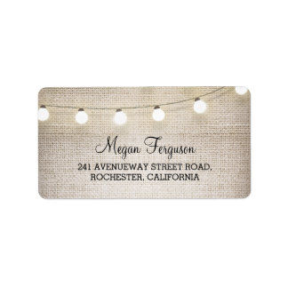 Burlap String Lights Wedding Address Label
