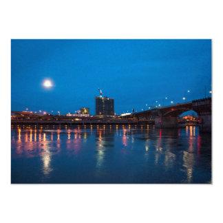 Burnside Bridge at Night, Portland 11 Cm X 16 Cm Invitation Card
