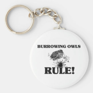 BURROWING OWLS Rule! Basic Round Button Key Ring