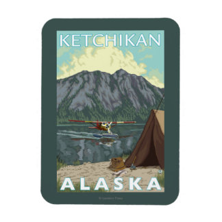 Bush Plane & Fishing - Ketchikan, Alaska Rectangular Photo Magnet
