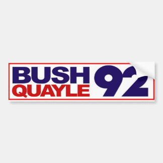 Bush Quayle 1992 Bumper Sticker