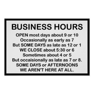 Business Hours Poster