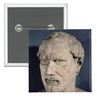 Bust of Demosthenes 15 Cm Square Badge