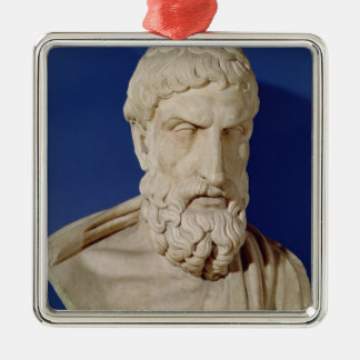 Bust of Epicurus Silver-Colored Square Decoration