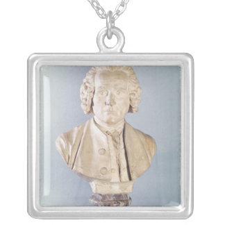 Bust of Jean-Jacques Rousseau Square Pendant Necklace
