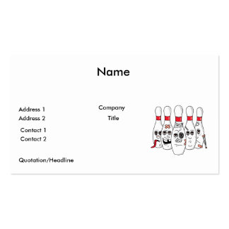 busted up injured bowling pins cartoon pack of standard business cards