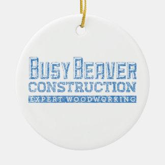 Busy Beaver Construction Round Ceramic Decoration
