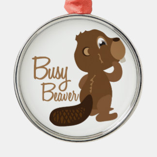 Busy Beaver Silver-Colored Round Decoration