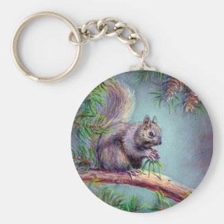BUSY SQUIRREL by SHARON SHARPE Basic Round Button Key Ring
