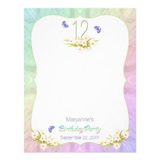 Butterflies 12th Birthday Party Activity Sheet Customised Letterhead