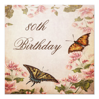 Butterflies & Vintage Almond Blossom 80th Birthday 13 Cm X 13 Cm Square Invitation Card