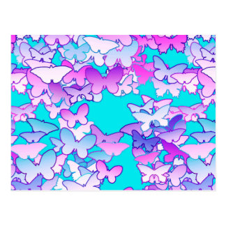 Butterflies, violet and turquoise postcard
