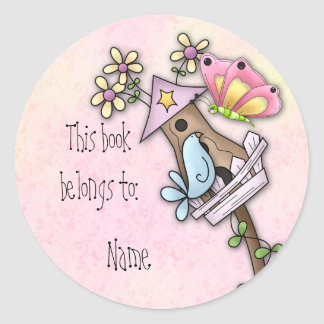 Butterfly and bird meeting at the birdhouse round sticker