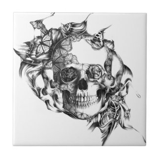 Butterfly Rose Skull from hand illustration Small Square Tile