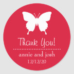 Butterfly Thank You Labels (Red) Round Sticker