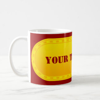 BUTTON BANNER yellow gradient + your text Basic White Mug