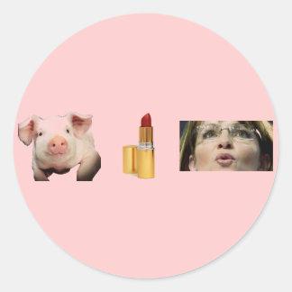 Button / Pig + Lip Stick = Sara Palin Round Sticker